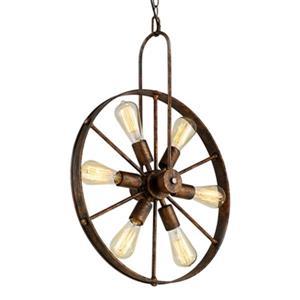 Warehouse of Tiffany Saralin Rustic Wagon Wheel Chandelier - 6-Light - Copper