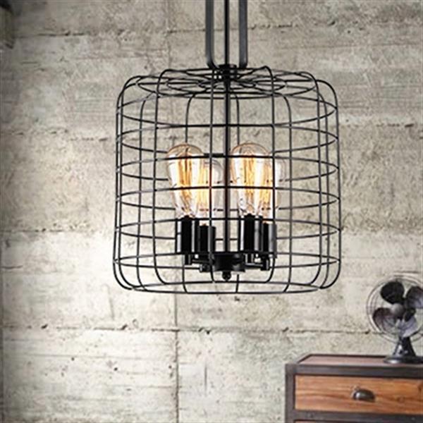 Luminaire suspendu Weress en forme de cage, Noir