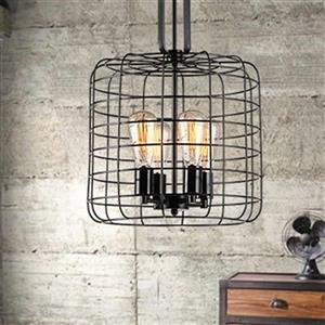 Weress Black 4-Light Metal Cage Pendant Light