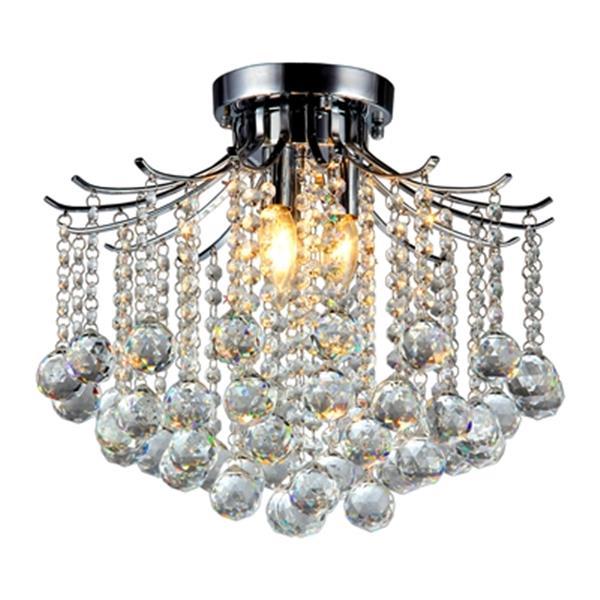 Plafonnier Tiffany à 3 lumières, Chrome et Cristal