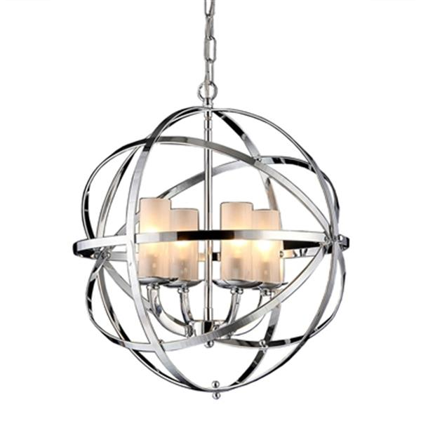 Warehouse of Tiffany Qadira 18-in Silver 4-Light Chandelier