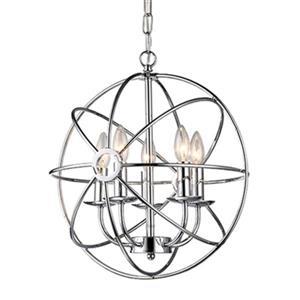 Warehouse of Tiffany Aidee 5-Light Spherical Chrome Chandelier