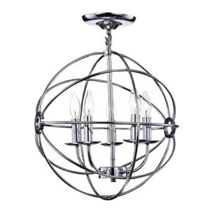 Warehouse Of Tiffany Shindanlang 20-in x 16-in Chrome 5-Light Chandelier