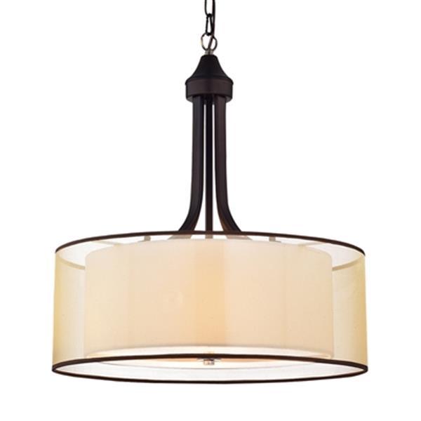 Laurel Creek Briar Tan Metal/Fabric  4-Light Pendant Light