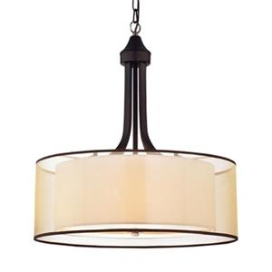 Laurel Creek Briar Tan Metal/Fabric  4-Light Pendant Light
