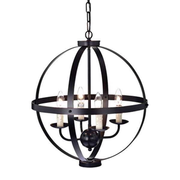 Warehouse of Tiffany Kandace Bronze 4-Light Orb Pendant Light