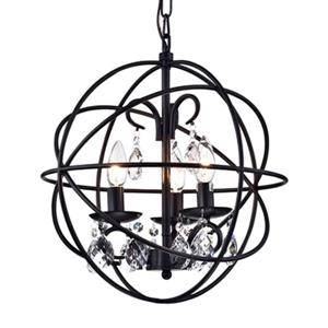 Warehouse of Tiffany Tess 3-Light Black Crystal Chandelier