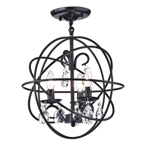 Suspension à 3 lumières Rosanna, métal/cristal, noir