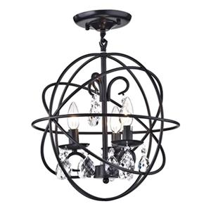 Warehouse Of Tiffany Rosanna 18-in x 16-in Black 3-Light Crystal Pendant Lamp