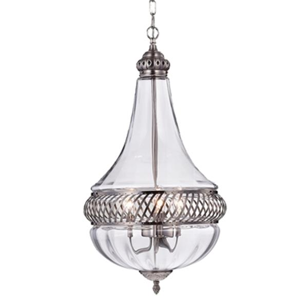 Warehouse of Tiffany Permin Empire 3-Light Metal/Glass Chandelier