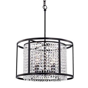 Warehouse of Tiffany Phodra Metal/Crystal 4-Light Round Pendant Light