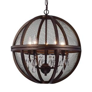 Warehouse of Tiffany Manin Bronze 5-Light Caged Globe Pendant Light