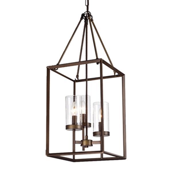 Jerling Bronze Metal/Glass  3-Light Cage Pendant Light