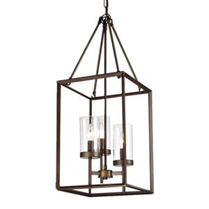 Warehouse of Tiffany Jerling Bronze Metal/Glass  3-Light Cage Pendant Light