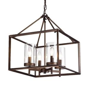 Warehouse of Tiffany Esich  Bronze Metal/Glass  4-Light Pendant