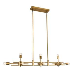 Bethel International Matte Brass Rectangle Chandelier
