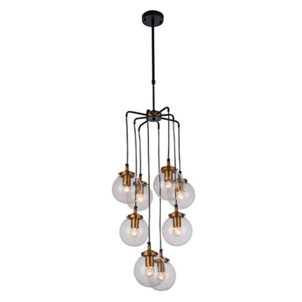 Design Living black/Brass Glass Globe Pendant Light