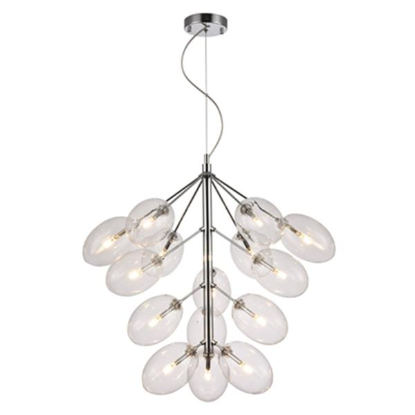 Design Living Clear Oval Glass Shade Chandelier