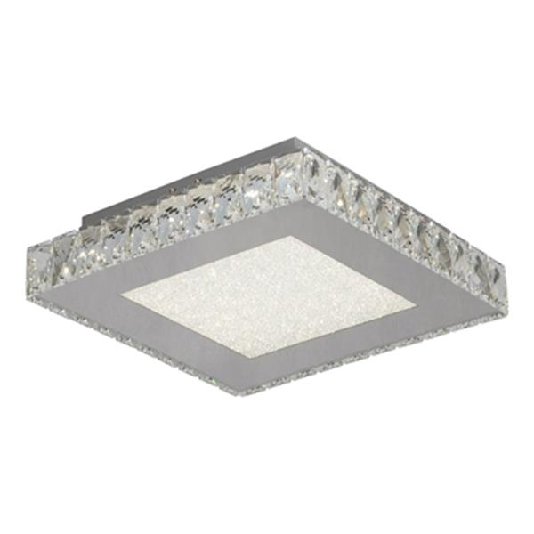 Design Living Stainless Steel Frame with Square Clear Crystal Flush Mount LED Light