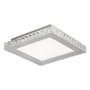 Bethel International Stainless Steel Frame with Square Clear Crystal Flush Mount LED Light