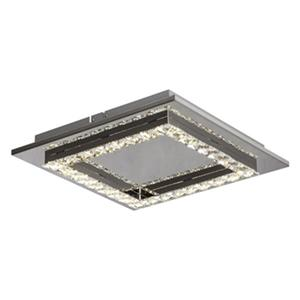 Bethel International Stainless Steele Frame with Square Clear Crystal Led Flush Mount Light