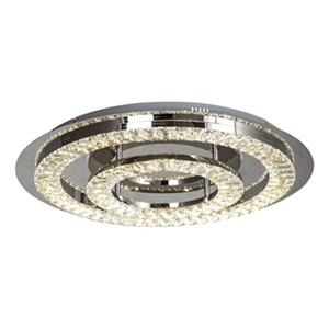 Bethel International Stainless Steel Double Cear Cystal Rng LED Flush Mount Light