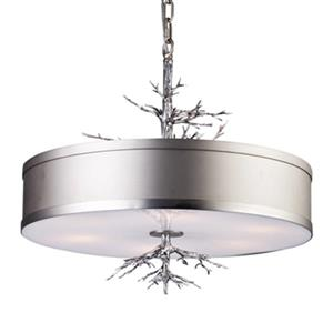 Design Living Antique Silver Leaf Tree Branch Drum Pendant Light