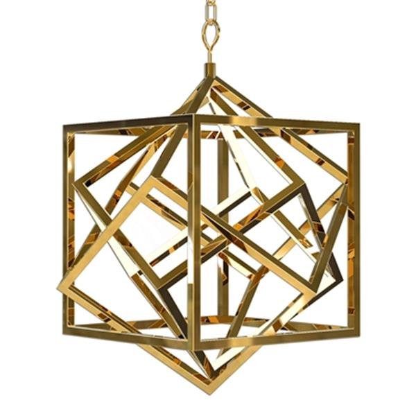 Design Living Gold Stainless Steel Geometric LED Pendant