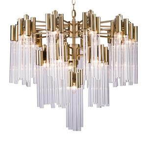 Bethel International 3-Tier Gold and Glass Tube Chandelier
