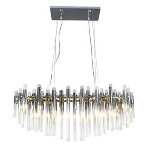 Bethel International Chrome and Glass Rod LED chandelier