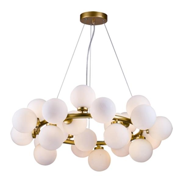 Bethel International Gold and Glass Globe LED Chandelier