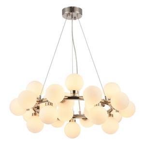 Bethel International Shiny Nickel and Glass Globe LED Chandelier