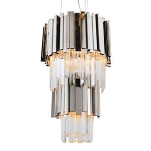 Design Living 4-Tier Shiny Nickel and Crystal Chandelier