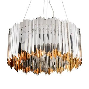 Design Living Shiny Nickel Spike Chandelier