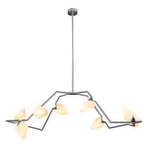 Bethel International 61.4-in x 13.9-in Satin Nickel Chandelier