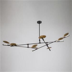 Design Living 14.9-in Black/Gold Disk Plate LED chandelier