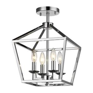 Design Living 16-in x 12-in Chrome 4-Light Cage Flush Mount Light