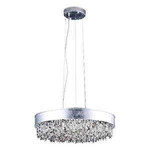 Bethel International 23-in Silver Leaf Round LED Chandelier
