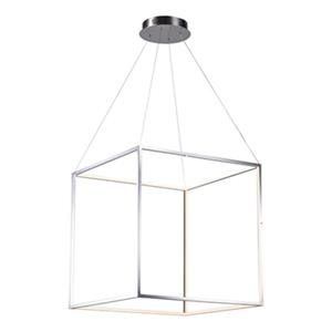 Bethel International 25.5-in x 25.5-in Shiny Nickel Floating Cube LED Pendant Light