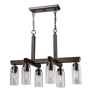 Artcraft Lighting Home Glow 17.5-in Distressed Pine Brown 6-Light Chandelier