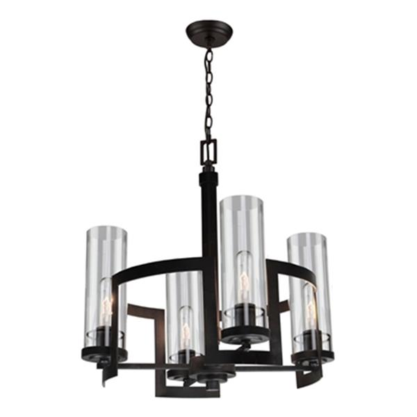 Artcraft Lighting Palazzo Vecchio 19-in Dark Java Brown 4-Light Chandelier