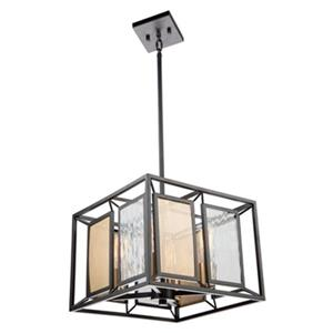Artcraft Lighting Chadwick 14-in  Dark Bronze/Satin Brass 4-Light Chandelier