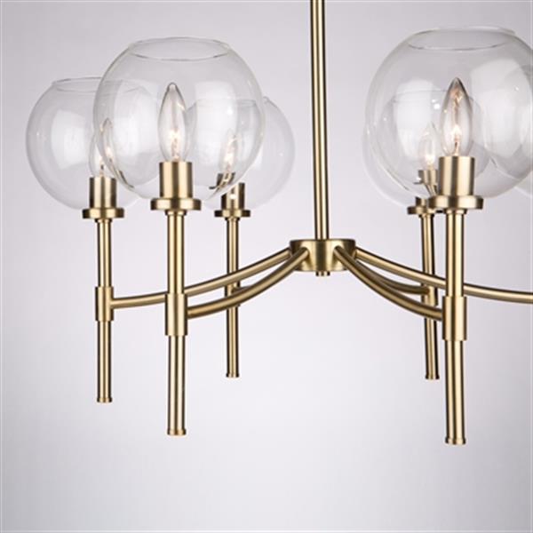 Artcraft Lighting Hamilton 29-in Satin Brass 6-Light Chandelier