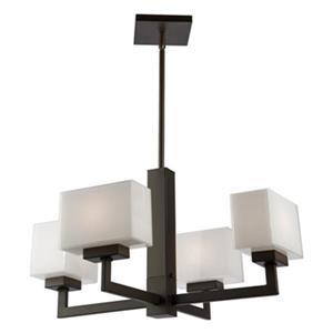 Lustre Cube Light, 4 lumières, bronze huilé