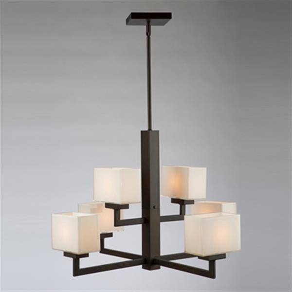 Artcraft Lighting Cube Light  26.5-in Oil Rubbed Bronze 6-Light Chandelier