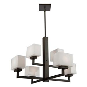 Lustre Cube Light, 6 lumières, bronze huilé