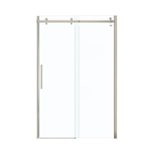MAAX Halo 45-47-in x 79-in Brushed Nickel Clear Shower Door