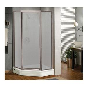 MAAX Silhouette NA 38-in x 70-in Shower Door in Polshed Chrome/Raindrop