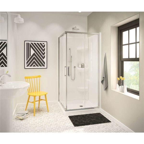 Radia carré 36 po x 72 po porte de douche chrome clair