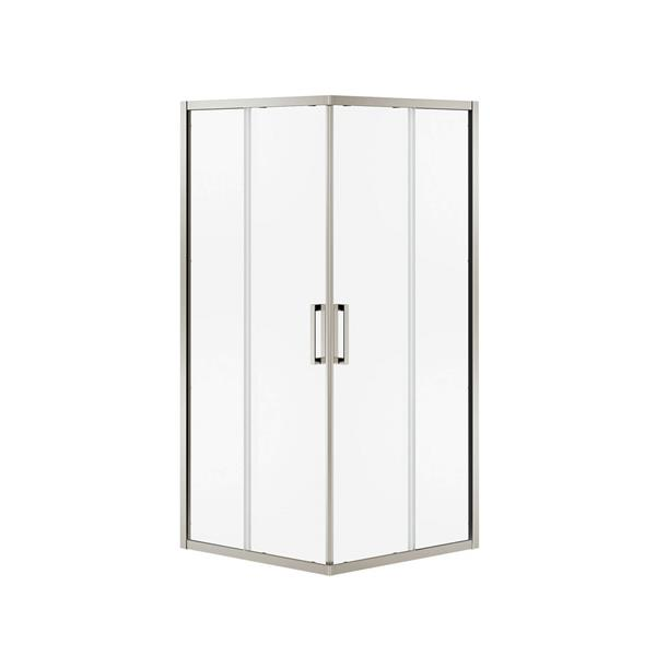 MAAX Radia Square 32-in x 72-in Nickel Clear Shower Door